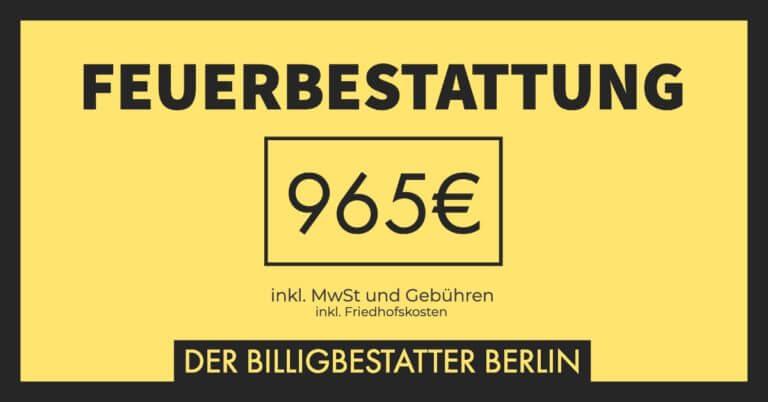 Billigbestattung - Feuerbestattung für 965€ inkl. MwSt. und Gebühren